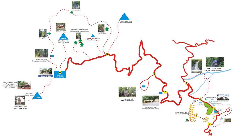 Bản đồ du lịch dành cho du khách muốn khám phá Vườn Quốc Gia Ba Vì.