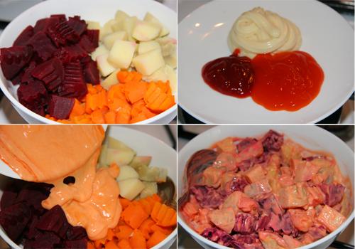 Điểm tâm sáng với thịt bò, trứng ốp la và salad rau củ